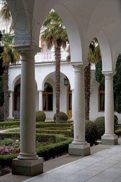 Porch and Italian courtyard of Livadia Palace (1909-1911), designed by Nikolay Krasnov, created as summer retreat for Tsar Nicholas II and served as the location for the Yalta Conference in 1945, Yalta, Crimea, Ukraine
