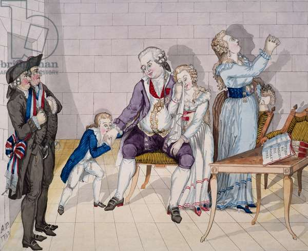 Louis XVI final farewell to his children on January 20, 1793, caricature, colored print, Paris, France, French Revolution, 18th century