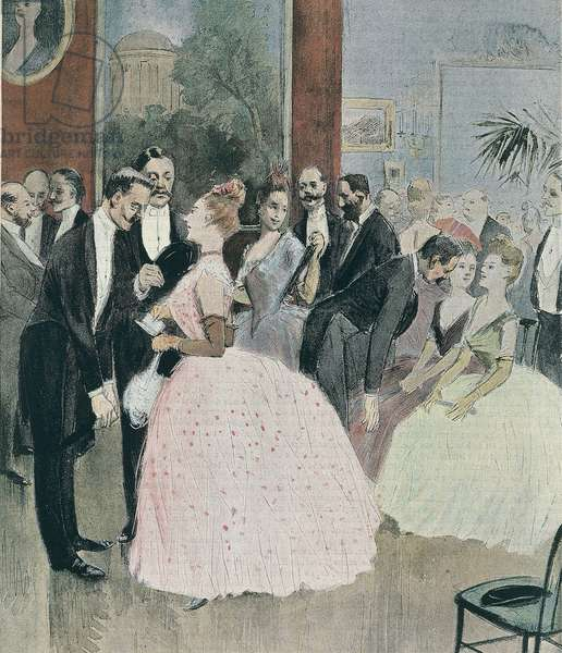 France, Paris, Ball in Paris by Jean-Louis Forain, 1888, engraving from watercolour