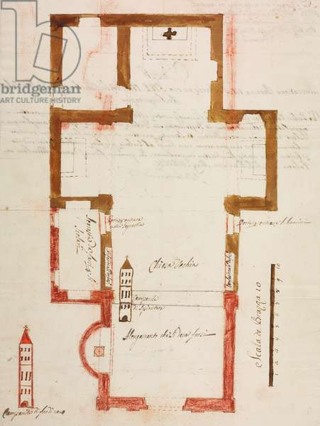 Design for extension of parish church and new bell tower, Cursolo, Cannobina Valley, parish of Cannobio, May 17, 1755, Cardinal Giuseppe Pozzobonelli, plan, Italy, 18th century