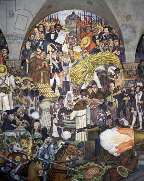 Juarez and the 1857 Constitution, by Diego Rivera (1886-1957), detail from the National Palace frescoes, Mexico City. Mexico, 20th century.