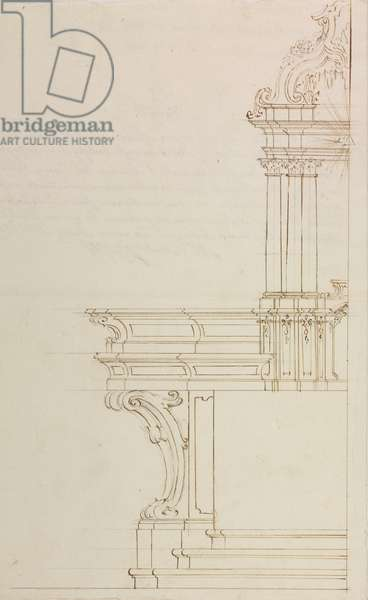 Design for high altar of parish church of San Martino Olearo, Mediglia, parish of Saint Julian, March 28, 1767, Cardinal Giuseppe Pozzobonelli, elevation drawing, Italy, 18th century
