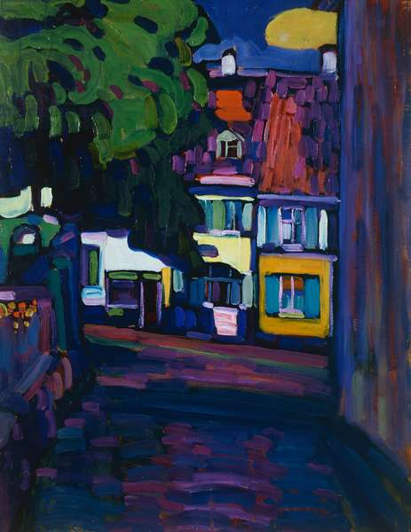 Murnau, Houses in the Obermarkt, 1908, by Wassily Kandinsky (1866-1944), oil on cardboard, 64x50 cm. Russia, 20th century.