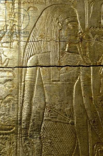Detail from engraving of gold covered chapel of Tutankhamen, From Tomb of Tutankhamun, Egyptian civilization, New Kingdom, Dynasty XVIII
