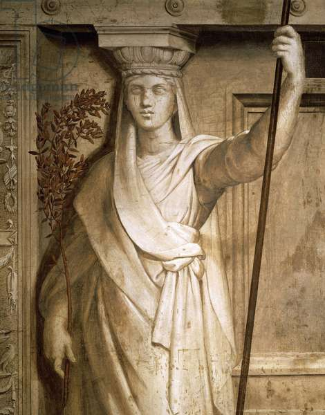 Allegory of Peace (1512-1514), by Raphael (1483-1520), monochrome fresco, lower section of the Room of Heliodorus, Vatican Museums, Vatican City