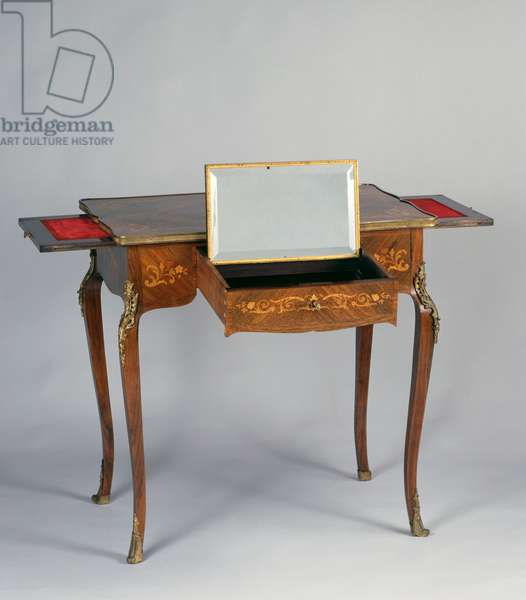 Louis XV Second Empire style (Napoleon III) writing desk with marquetry depicting flowers and plant motifs, France, second half 19th century