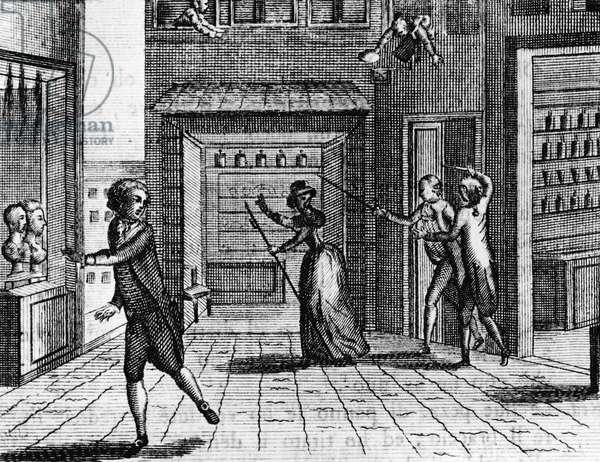 Illustration for coffee house, comedy by Carlo Goldoni (1707-1793), engraving, from Opere teatrali del sig avvocato Carlo Goldoni veneziano, published by Antonio Zatta e figli, 1789, Venice
