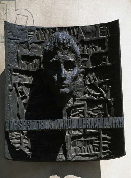 Portrait of writer Franz Kafka (1883-1924) at his birthplace, Historical Centre of Prague (Unesco World Heritage List, 1992), Czech Republic