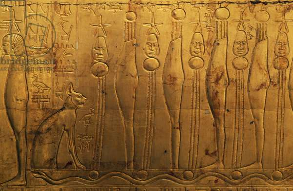Reliefs on upper register of right outer panel of second funeral chapel, Treasury of Tutankhamun, Egypt, Egyptian civilization, New Kingdom, Dynasty XVIII