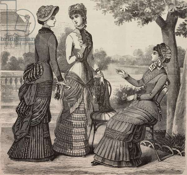 Conversation in the garden, wool and striped Moire dress, plain cotton satin and Pompadour dress, voile dress, Madame Coussinet designs, engraving from La Mode Illustree, No 22, May 28, 1882