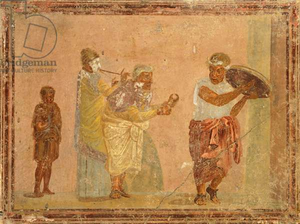 Fresco depicting travelling musicians, from Pompeii , Campania, Roman Civilization, 1st Century