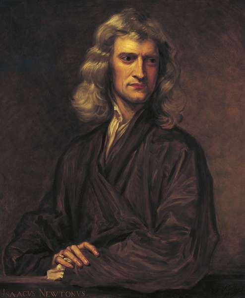Portrait of Isaac Newton, after the original by Sir Godfrey Kneller of 1689, 1863 (oil on canvas)