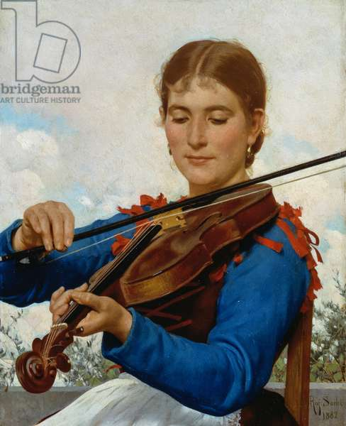 Girl playing violin, 1882, by Raffaello Sorbi (1844-1931), oil on canvas, 35x28 cm