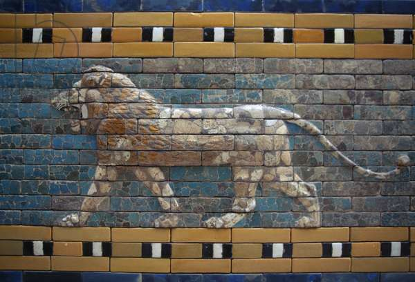 Lion, detail from glazed brick tiles depicting mythological animals that adorned the Processional Way, Babylon, Babylonian civilization, 7th -6th century BC
