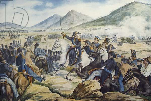 Argentine General Jose de San Martin (1778-1850) at Battle of Chacabuco, February 12, 1817