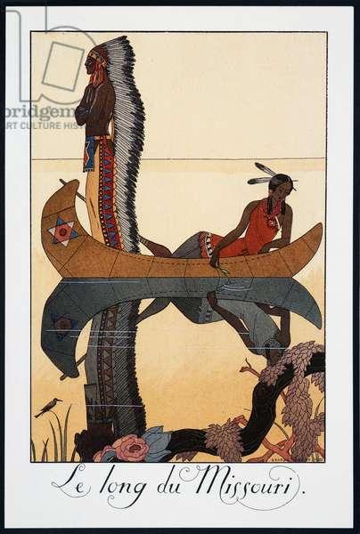 Le long du Missouri, lithograph by George Barbier (1882-1932), from Falbalas et Fanfreluches, Almanach des Modes Presentes, Passees et Futures, France, 20th century