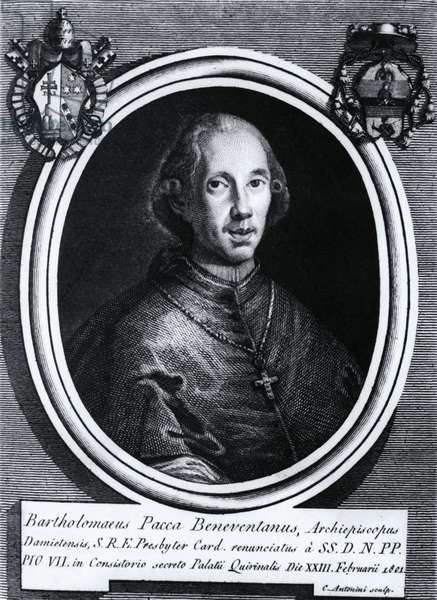 Portrait of Bartolomeo Pacca (1756-1844), Italian cardinal, engraving