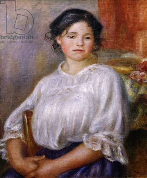 Girl Sitting, by Pierre-Auguste Renoir, 1909, 1841-1919