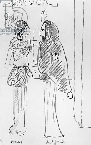 Costume sketches drawn ??by Jean Cocteau (1889-1963) for Antigone by Arthur Honegger (1892-1955), France 1927, 20th century.