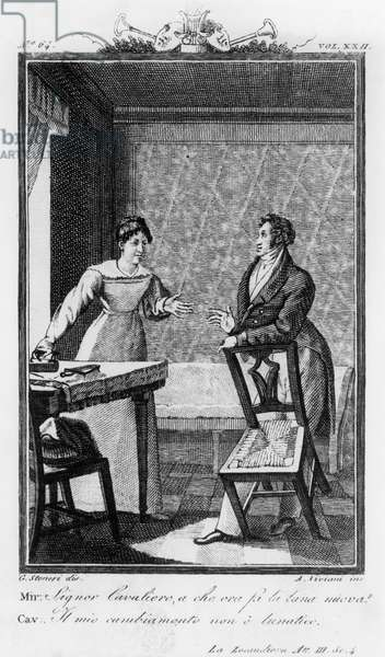 Mirandolina, ironing and talking to Baron Ripafratta, illustration for Mistress of Inn, comedy by Carlo Goldoni (1707-1793), engraving by Antonio Viviani (1797-1854) after drawing by G Steneri, from Commedie di Carlo Goldoni