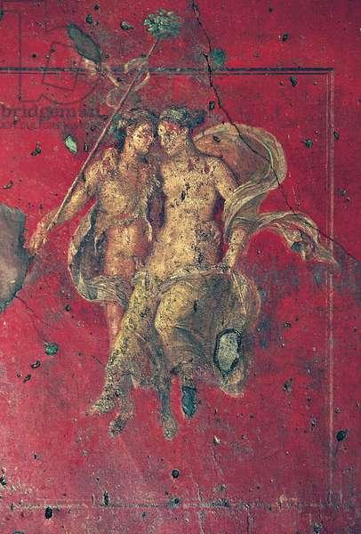 Bacchus and Ariadne, fresco from Triclinium, Fourth Pompeian style, House of Vettii, Pompeii (Unesco World Heritage List, 1997), Campania, Italy, Roman civilization, 1st century
