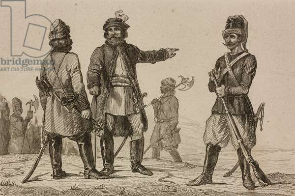 Streltsy, Polish guardsmen, Russia, engraving by Lemaitre, Vernier and Chaillot from Russie by Jean Marie Chopin (1796-1870)