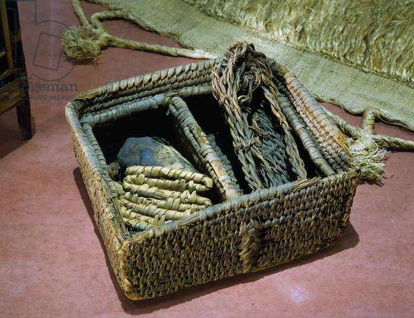 Basket with compartments, 1450 BC, grave goods from western cemetery of Qurnet Murai, Egyptian civilization, New Kingdom, Dynasty XVIII