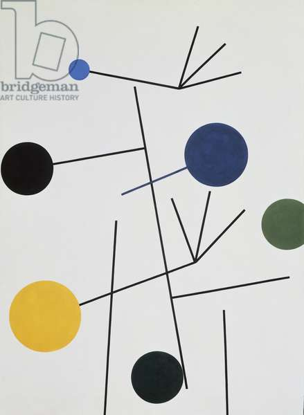 Rising, Falling, Flying, 1934, by Sophie Taeuber-Arp (1889-1943), oil on canvas, 99.8x73.3 cm