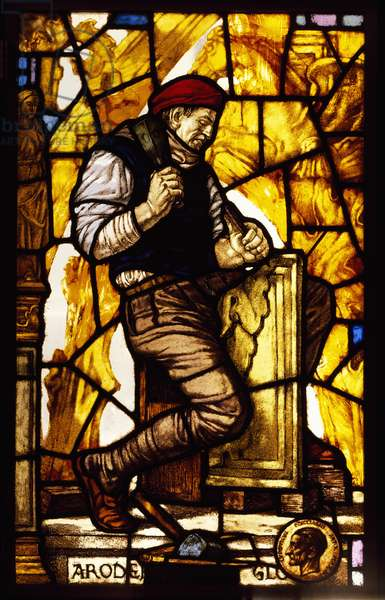 Panel of a window depicting a stonemason (stained glass)