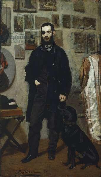 Portrait of Giuseppe Abbati, by Giovanni Boldini (1842-1931), oil on panel, 87.5x22 cm
