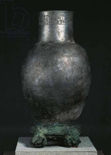 Sumerian civilization, Prince of Lagash's votive bowl in silver and copper, from Tello, Iraq, 3rd millennium b.c.