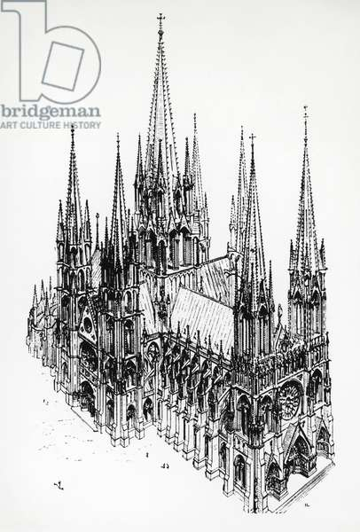 Isometric view of ideal cathedral, drawing by Eugene Emmanuel Viollet-le-Duc (1814-1879) from Dictionary of French Architecture from 11th to 16th Century, 19th century