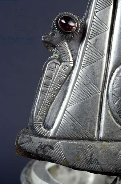 Detail of a crown of Ballana, silver and semi-precious stones, found in the cemetery of Ballana, near Aswan, dating back to the Post-Meroitic Period (350-600 AD). Egyptian civilization, 4th-7th century AD.