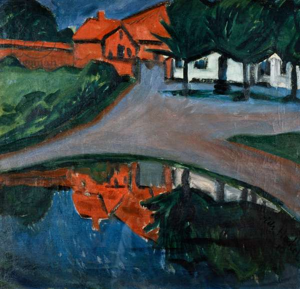 The village pond, 1910, by Erich Heckel (1883-1970), oil on canvas, 56x73 cm. Germany, 20th century.