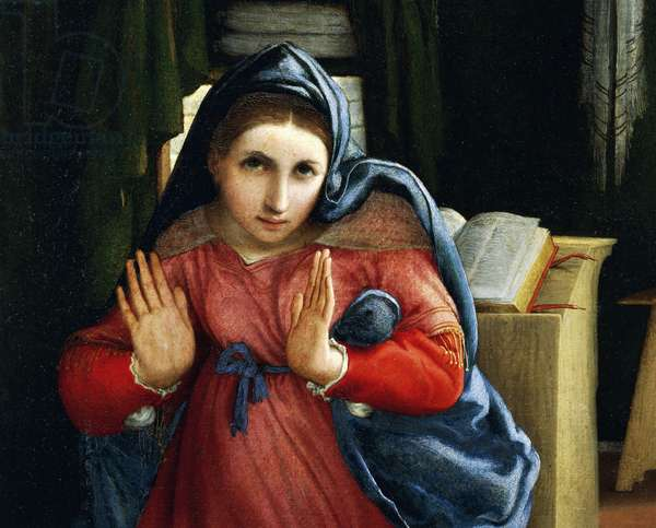 The Virgin announced, detail from the Annunciation, ca 1434, by Lorenzo Lotto (1480-1556), oil on canvas, 166x114 cm.