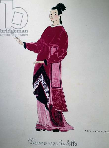 Costume of a lady from Turandot by Giacomo Puccini, sketch by Umberto Brunelleschi (1879-1949) for the first performance of the opera at the Teatro alla Scala in Milan, April 25, 1926. 20th century