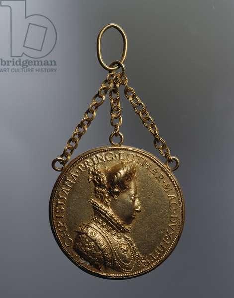 Gold medal depicting Christina of Lorraine (1565-1637) designed by Michele Mazzafirri (1530-1597), 16th century
