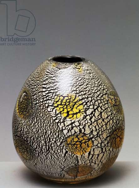 Blown glass vase, 1950, yellow ashlar decoration with silver leaf inserts on black background, AVEM (Arte Vetraria Muranese), Giulio Radi (1895-1952), Italy, 20th century
