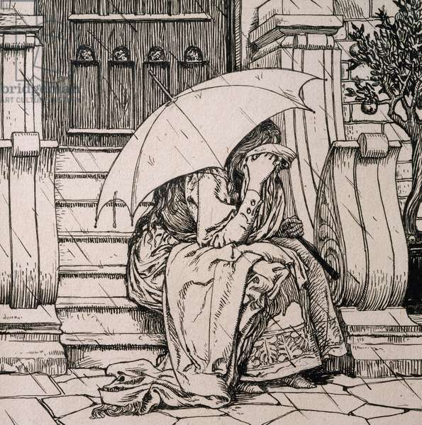 Illustration by Hans Tegner (1853-1932) for fairy tale by Hans Christian Andersen (1805-1875)