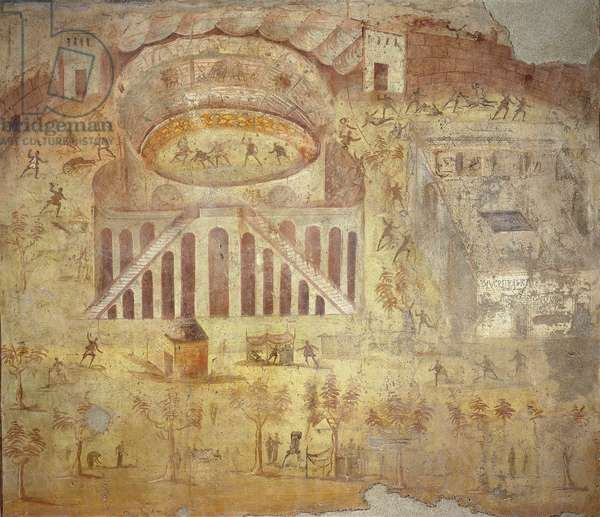 Riot at the amphitheater, from Italy, Campania, Pompeii, painting on plaster, 55-79 B.C.