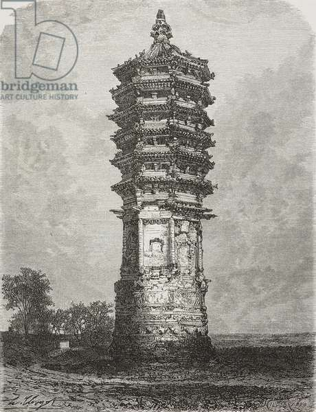 Tower of monument erected in memory of Buddhist character, Old Summer Palace, China, drawing by Hubert Clerget (1818-1899) from photograph by Morache, from Beijing and North China, by T Choutze pseudonym of Gabriel Deveria (1844-1899)