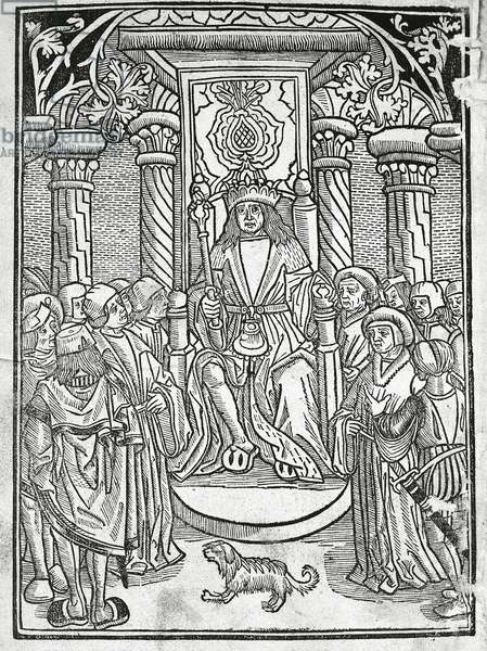 Charles VI being crowned king, from a manuscript by Martial de Paris (Martial d'Auvergne). Xylograph, France 15th Century.