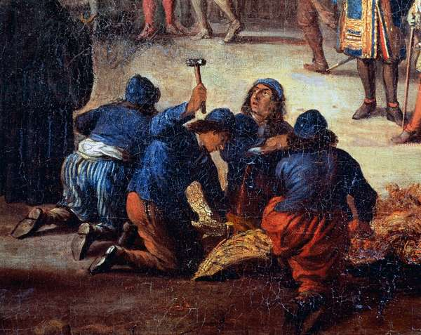 Men at work, detail from Marquis de Seignelay and Louis Victor de Rochechouart, Duke of Vivonne visiting King's boat at arsenal in Marseilles, 1677, painting attributed to Jean-Baptiste de La Rose (1612-1687), oil on canvas, 110x157 cm
