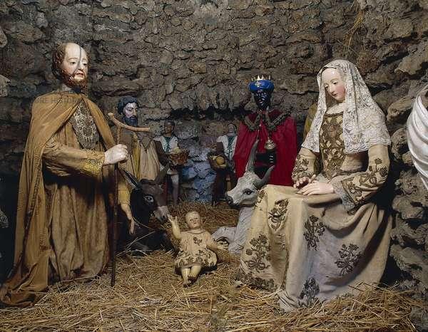 Nativity, figurine from nativity scene from 16th-18th century, Sanctuary of santa Maria della Quercia, Viterbo, Lazio, Italy