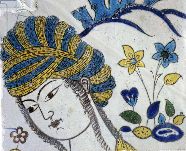 Young girl with turban, detail from panel depicting games in garden, ceramic, Chehel Sotoun, Isfahan, Persia, 17th century