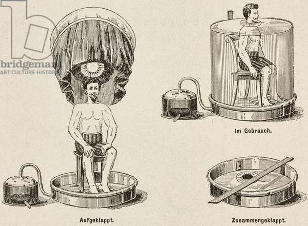 Home steam bath, woodcut from Moderne Kunst (Modern Art), illustrated magazine published by Richard Bong, 1892-1893, Year VII, No 4, Christmas Issue, Berlin