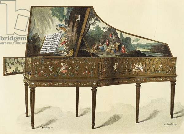 Harpsichord decorated with grotesques, illustration from Dictionary of Furniture and Decoration, by Henry Havard, Volume I, 1878, engraving