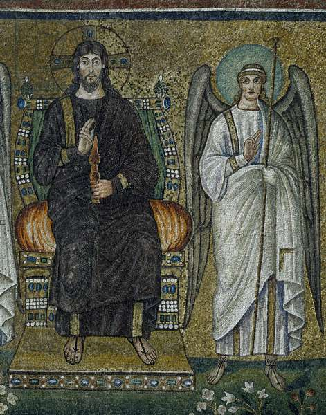 Basilica of Sant'Apollinare Nuovo, Presbytery, Detail of mosaics representing Christ enthroned and Angel, Ravenna, Emilia-Romagna, Italy