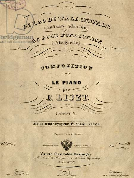 Title page of At Lake Wallenstadt, by Franz Liszt (1811-1886), Austria, 19th century