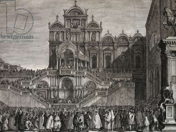 Pope Pius VI blessing crowd in campo San Giovanni e Paolo in Venice, May 19, 1792, Italy, engraving after painting by Francesco Guardi, 18th century